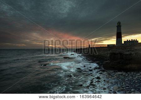 Portland Bill Lighthouse at Sunset, Isle of Portland, Dorset