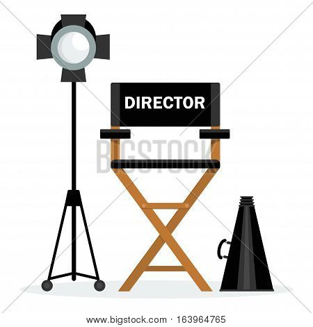 Film directors chair with a megaphone and searchlight. Work on the set of the film. Flat vector cartoon illustration. Objects isolated on a white background.