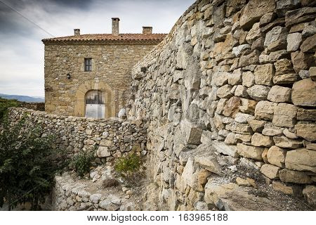 an ancient stone made house in Culla town, Alto Maestrazgo Province of Castellón, Spain