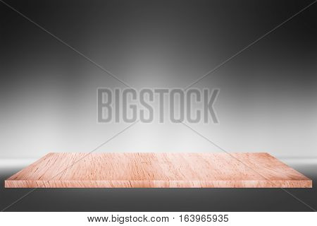 Empty top brown wooden shelves or wood table on gray gradient background / for product display montage product display