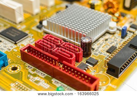 electronic circuit board with sata connector close up