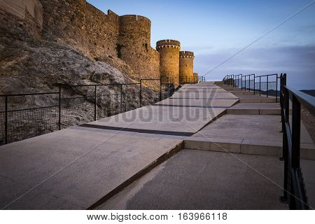 ancient castle in Onda town at Dusk, province of Castellón, Spain