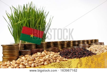 Burkina Faso Flag Waving With Stack Of Money Coins And Piles Of Wheat And Rice Seeds