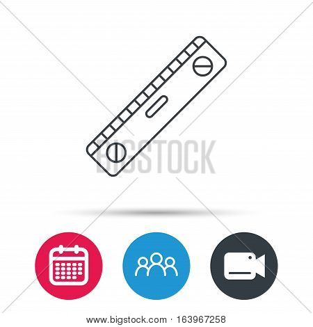Level tool icon. Horizontal measurement sign. Group of people, video cam and calendar icons. Vector