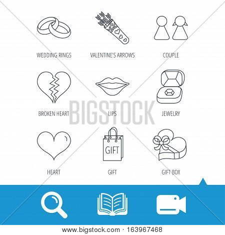 Love heart, kiss and wedding rings icons. Broken heart, couple and gift box linear signs. Valentine amour arrows flat line icons. Video cam, book and magnifier search icons. Vector