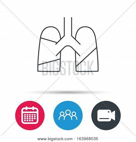 Lungs icon. Transplantation organ sign. Pulmology symbol. Group of people, video cam and calendar icons. Vector