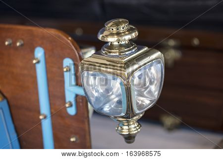Vintage carriage lamp headlight from a 1904 automobile