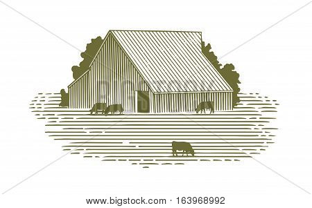 Woodcut illustration of a barn and cattle.