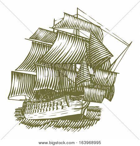 Woodcut illustration of an old sailing ship.