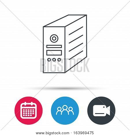 Computer server icon. PC case or tower sign. Group of people, video cam and calendar icons. Vector
