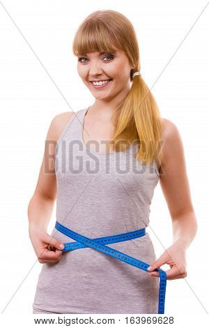 Woman Measuring Her Waist Isolated
