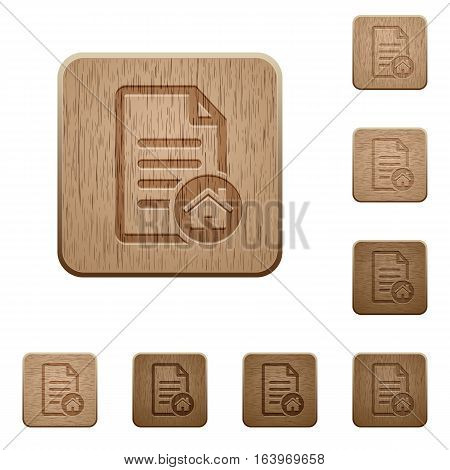 Default document on rounded square carved wooden button styles