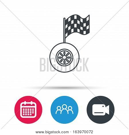 Race icon. Wheel with racing flag sign. Group of people, video cam and calendar icons. Vector