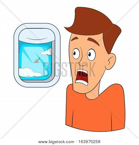 Fear of flying icon. Cartoon illustration of fear of flying vector icon for web design