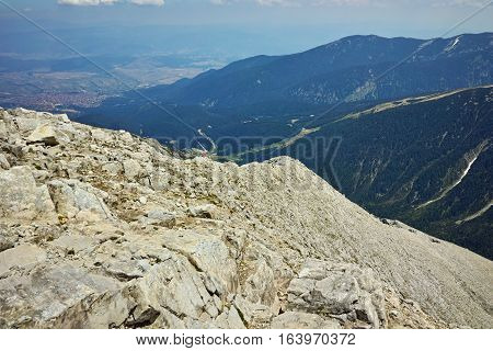 Panoramic view from Vihren peak to Bansko, Pirin Mountain, Bulgaria