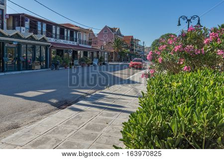 Lixouri, Kefalonia, Greece - May 25  2015:  flowers on embankment  of Lixouri town, Kefalonia, Ionian islands, Greece