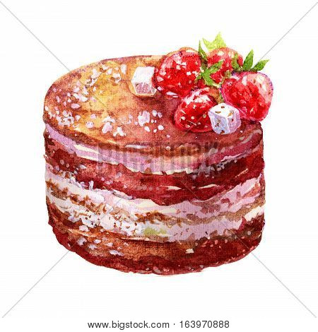 Watercolor Chocolate sponge cake with strawberries illustration isolated on white background. Fresh strawberry cake with chocolate topping.