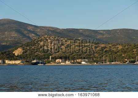 Argostoli, Kefalonia, Greece - May 25  2015:  Sunset Landscape to Kefalonia mountain from town of Argostoli,  Ionian islands, Greece