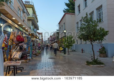 Argostoli, Kefalonia, Greece - May 25  2015:  Amazing Sunset view of main Street in town of Argostoli, Kefalonia, Ionian islands, Greece