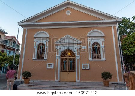 Argostoli, Kefalonia, Greece - May 25  2015:  Sunset view of church in the town of Argostoli, Kefalonia, Ionian islands, Greece