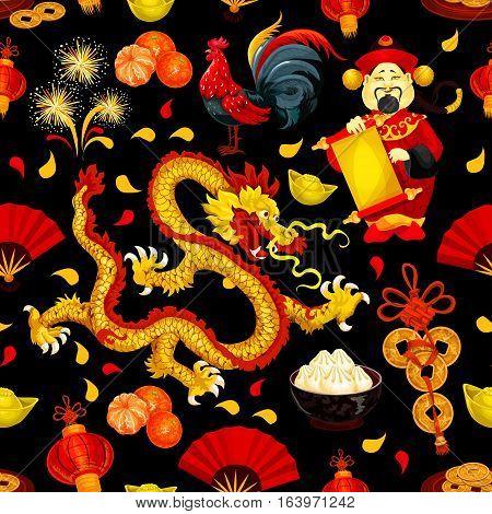 Chinese New Year festive seamless pattern with rooster zodiac symbol, red lantern, fortune coin, golden dragon, god of wealth with scroll, mandarin orange, gold ingot, firework, folding fan, dumpling