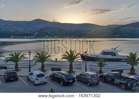 Argostoli, Kefalonia, Greece - May 26 2015:  Amazing Sunrise view of Embankment and port of Argostoli, Kefalonia, Ionian islands, Greece