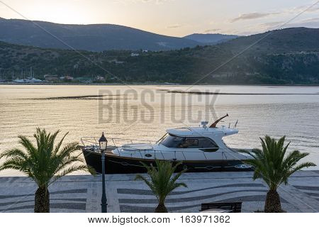 Argostoli, Kefalonia, Greece - May 26 2015:  Sunrise view of port of Argostoli, Kefalonia, Ionian islands, Greece