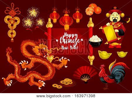Chinese New Year, Spring Festival greeting card. Golden coin, animal zodiac rooster, red paper lantern, mandarin fruit, dancing dragon, god of wealth with paper scroll, firework, dumpling, gold ingot