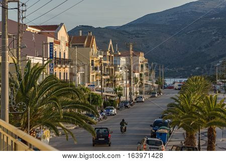 Argostoli, Kefalonia, Greece - May 26  2015:  Amazing Sunrise view of Embankment of town of Argostoli, Kefalonia, Ionian islands, Greece