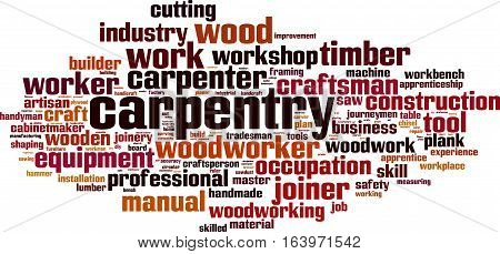 Carpentry word cloud concept. Vector illustration on white