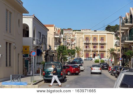 Argostoli, Kefalonia, Greece - May 26 2015:  Building of town hall in Argostoli, Kefalonia, Ionian islands, Greece