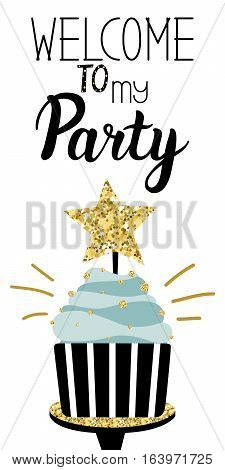 Happy Birthday Party card with cake with gold glittering parts topper candles and lettering text. Vector hand drawn illustration.