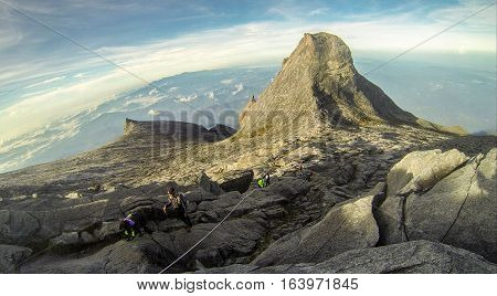 View from top of Low's Peak,4095 meters above sea level of mountain Kinabalu,Sabah,Borneo.Mount Kinabalu is the tallest mountain in Malaysia and the 20th tallest in the World.