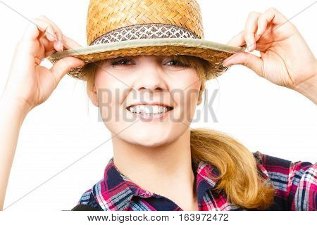 Portait Smiling Woman Wearing Sun Hat And Shirt