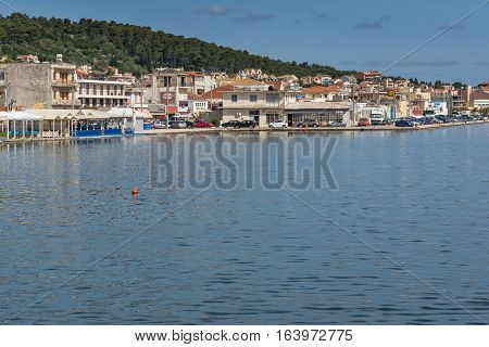 Argostoli, Kefalonia, Greece - May 26 2015:  Panoramic view of town of Argostoli, Kefalonia, Ionian islands, Greece