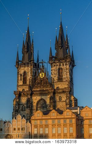 The famous Church of Our Lady before Tyn in Prague