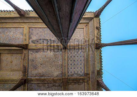 Wooden columns of Chehel Sotoun pavilion in Isfahan city Iran