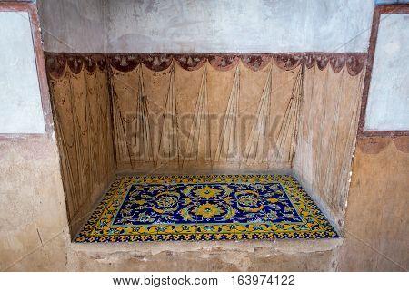 Interior of Ali Qapu palace in Isfahan city Iran