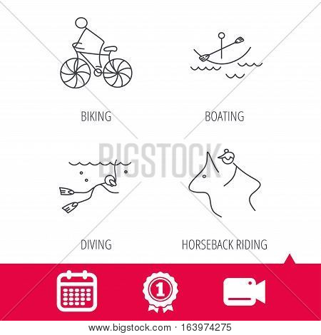 Achievement and video cam signs. Diving, biking and horseback riding icons. Boating linear sign. Calendar icon. Vector