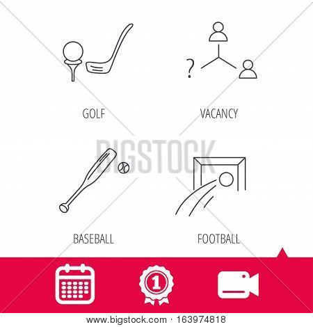 Achievement and video cam signs. Football, golf and baseball icons. Vacancy linear sign. Calendar icon. Vector