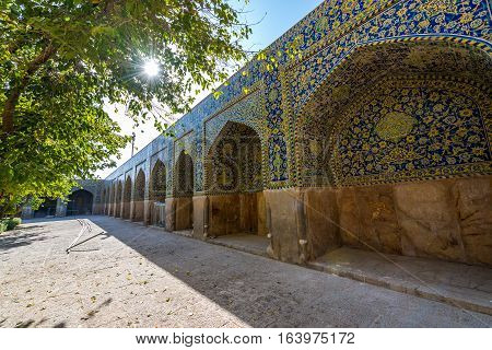 One of courtyards of Shah Mosque also called Imam mosque in Isfahan city Iran