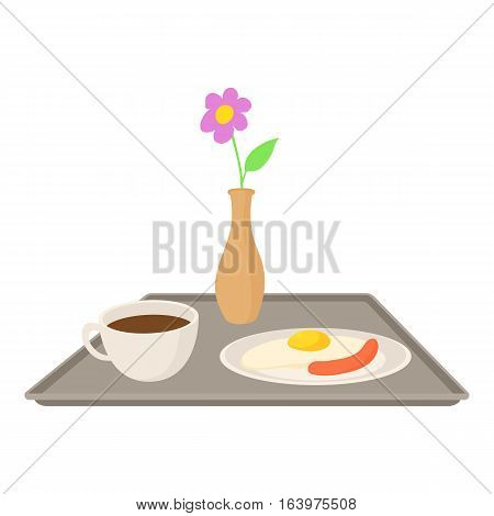 Breakfast in bed icon. Cartoon illustration of breakfast in bed vector icon for web