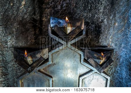 Inside the fire temple Chak Chak mountain village in Iran holy place for Zoroastrians