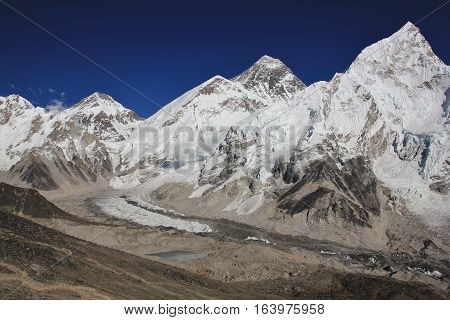 View from Kala Patthar. Mount Everest and Khumbu glacier.