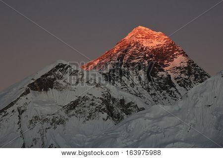 Sunset view from Kala Patthar. Mount Everest.