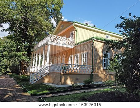 TARKHANI RUSSIA - AUGUST 28 2016: Reverse side of the manor house in Tarkhany Lermontov country estate