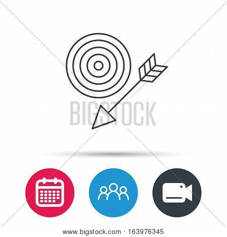 Target with arrow icon. Dart aim sign. Group of people, video cam and calendar icons. Vector