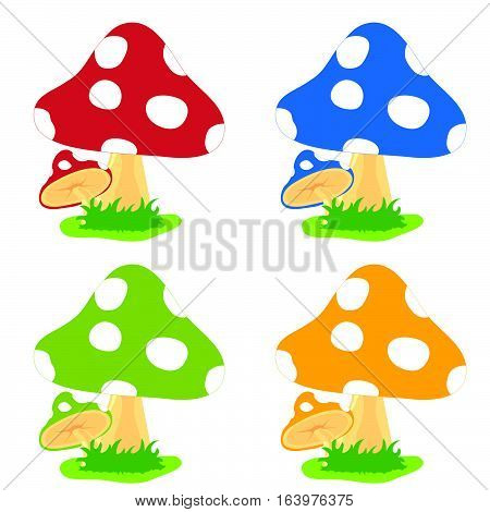 Mushroom Cartoon Fresh Set Design Illustration