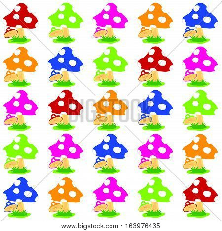 Pattern Of Mushroom Cartoon Set Illustration On White Background