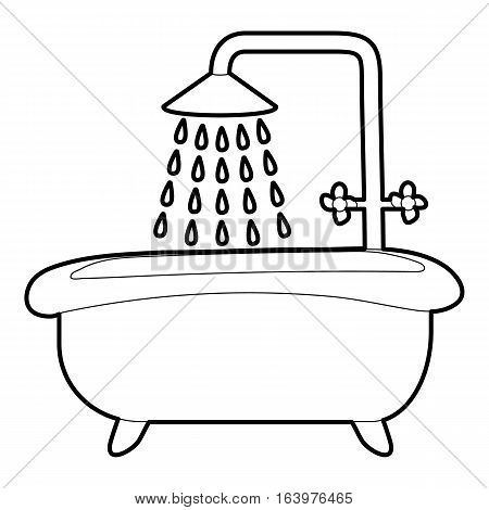 Bath with shower icon. Outline illustration of bath with shower vector icon for web